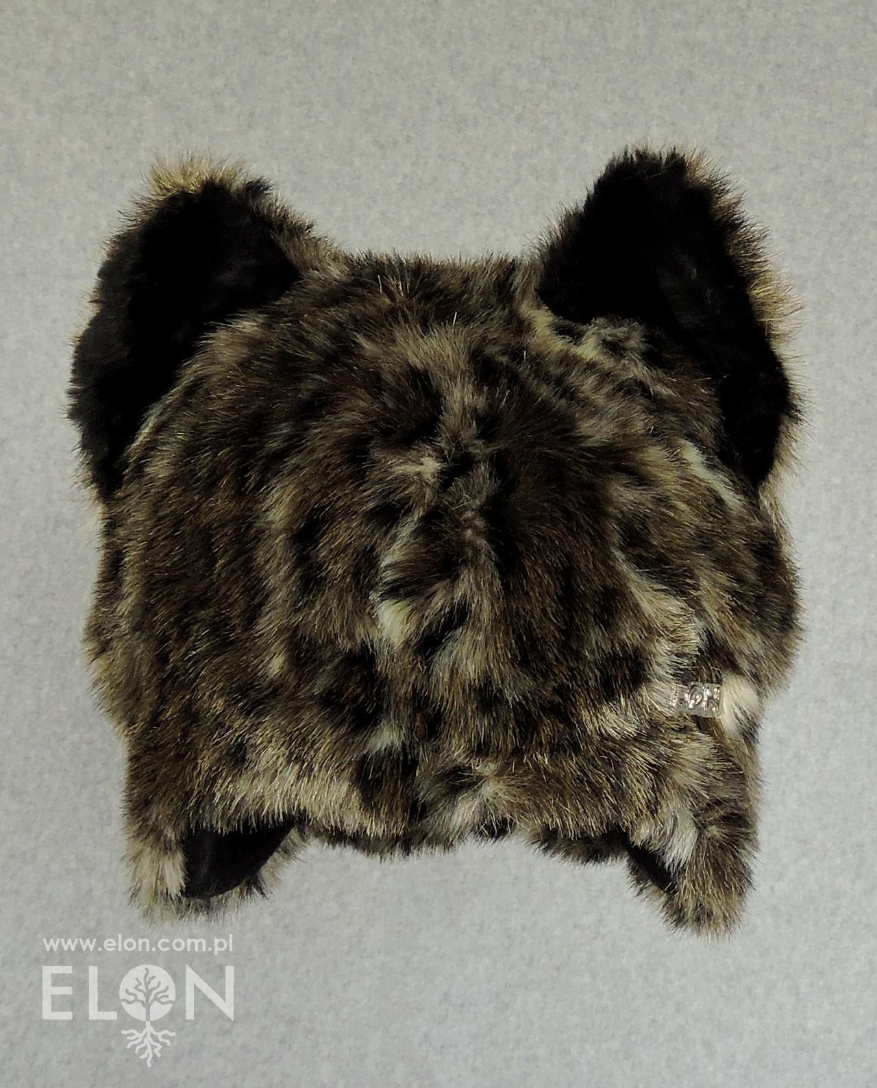 Czapka kot - beżowo-czarna