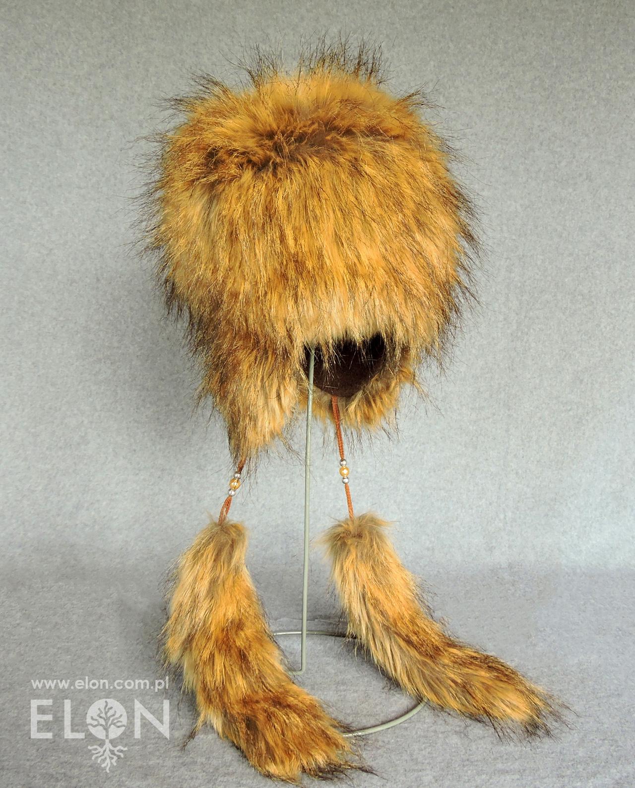 Damska czapka - uszatka - kremowy jenot