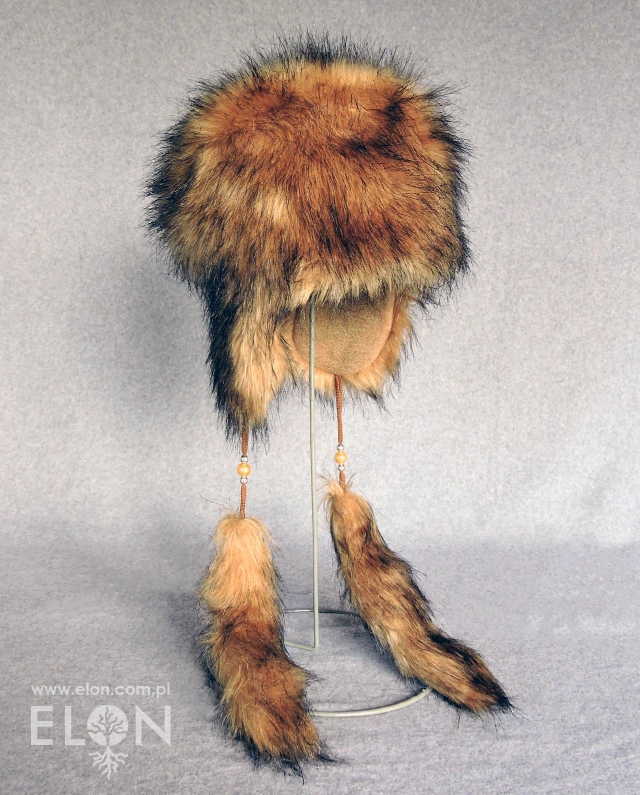 Damska czapka - uszatka - beżowy jenot