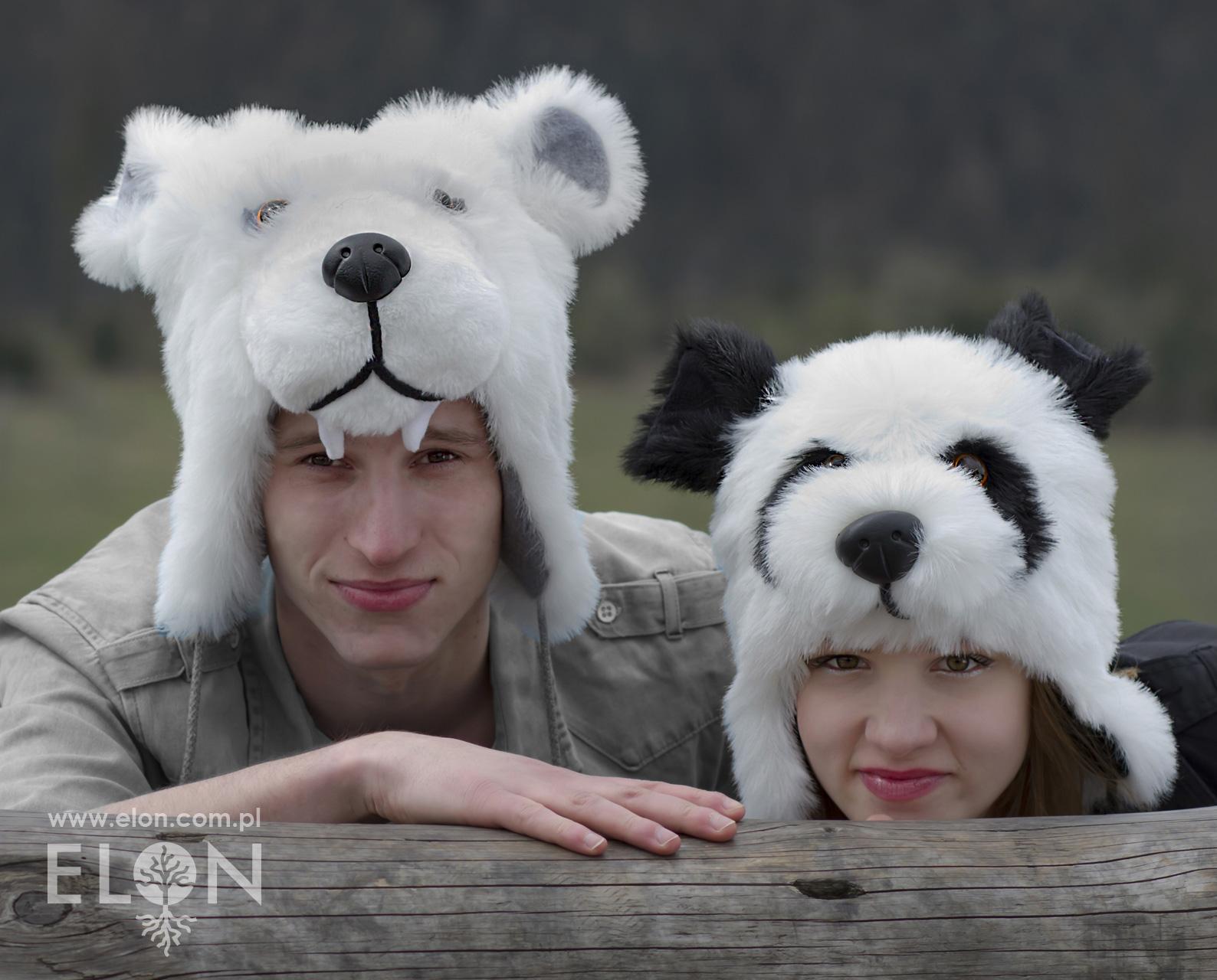Czapka niedźwiedź biały i panda